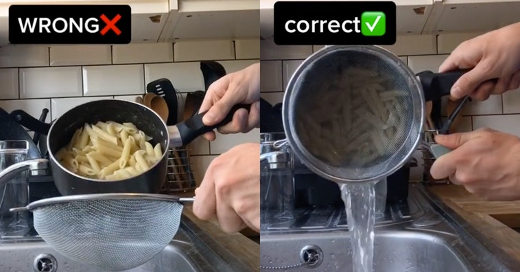 pasta straining hack, pasta straining tiktok