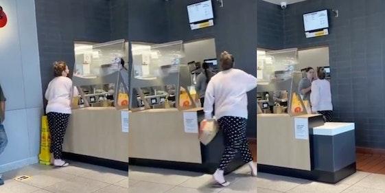 karen mcdonald's, woman snatches mask off mcdonald's employy