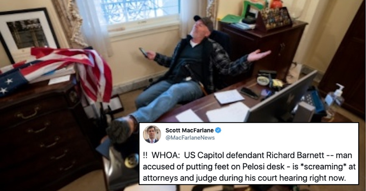 """Capitol Rioter Who Sat At Nancy Pelosi's Desk Screams """"It's Not Fair!"""" In Court"""