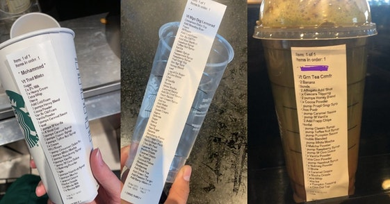 edward starbucks order, Starbucks baristas are sharing the longest and most complicated drink orders they've had to make