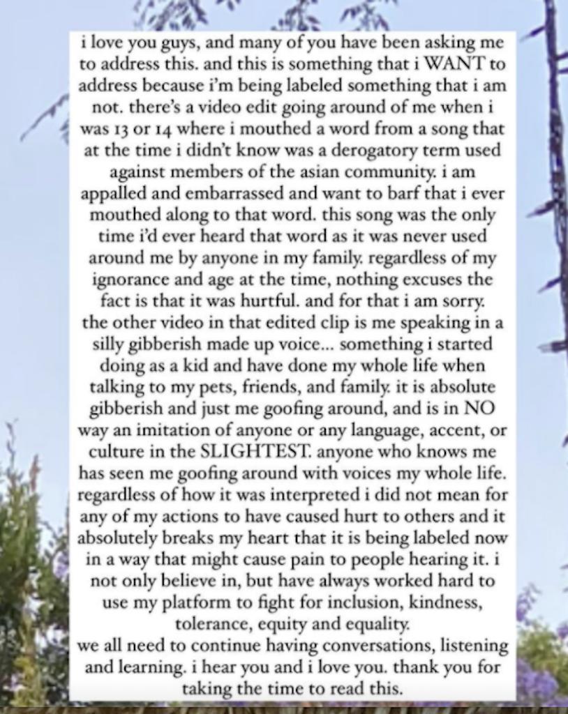 billie eilish apology